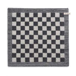 Knit Factory - keukendoek geruit - antraciet/ecru